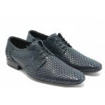 Мъжки елегантни обувки с връзки ЛД 600 синьо