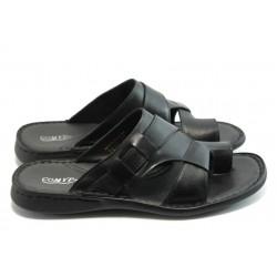 Български мъжки чехли естествена кожа КП 7030 Черен
