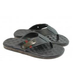 Мъжки чехли от естествена кожа МИ 242 черни
