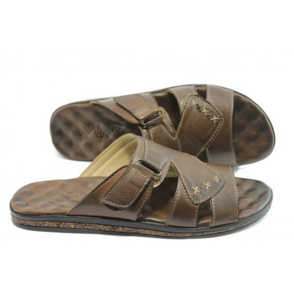Мъжки чехли от естествена кожа МИ 210 кафе