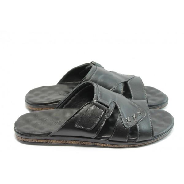 Мъжки чехли от естествена кожа МИ 210 черни