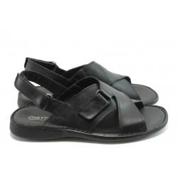 Български анатомични сандали естествена кожа КП 6422 черни