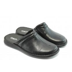 Анатомични мъжки чехли от естествена кожа КП 6945 черни