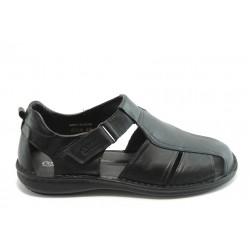 Мъжки анатомични сандали от естествена кожа КП 8034 черни