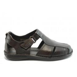 Мъжки анатомични сандали от естествена кожа КП 8034 кафе