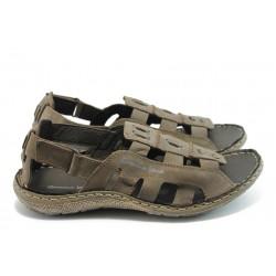 Мъжки анатомични сандали естествена кожа МЙ 71166 кафяви