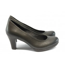 Немски обувки на ток естествена кожа Tamaris 22410 сиво ANTISHOKK