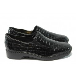 Равни дамски обувки Rieker L6070-26 черни ANTISTRESS