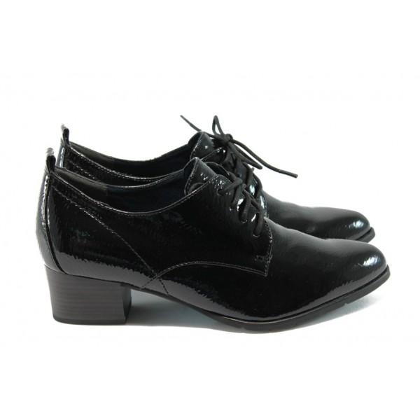 Дамски обувки на среден ток Tamaris 1-23313-33 черен лак ANTISHOKK