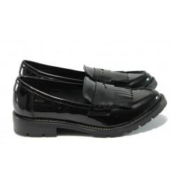 "Дамски немски обувки с ""мемори"" пяна Marco Tozzi 2-24604-33 черен лак"