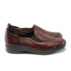 Дамски обувки от естествена кожа Rieker L6072-35 бордо ANTISTRESS