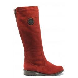 Дамски ботуши от естествен велур за широк прасец Remonte R3388-14(H) червен