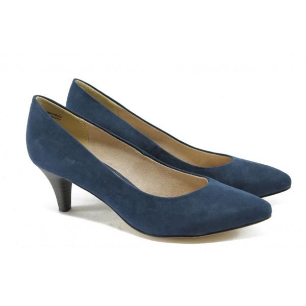 Класически велурени дамски обувки на ток Tamaris 1-22415-24 т.син