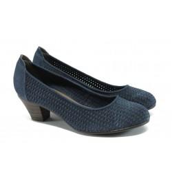 Дамски обувки на ток от естествен велур Jana 8-22301-24 т.син ANTISHOKK