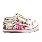 Дамски спортни обувки с мемори пяна S.Oliver 5-24605-24 бели цветя