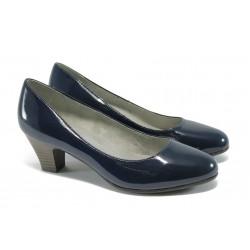 Класически дамски обувки за Н крак Jana 8-22463-24 т.син лак