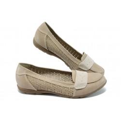 Равни дамски обувки с перфорации за Н крак Jana 8-22161-24 таупе
