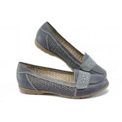 Равни дамски обувки с перфорации за Н крак Jana 8-22161-24 син