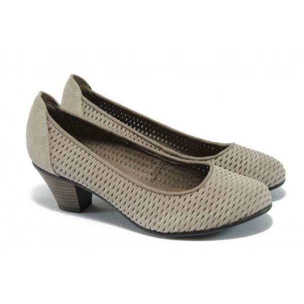 Дамски обувки на ток от естествен велур Jana 8-22301-24 сив ANTISHOKK