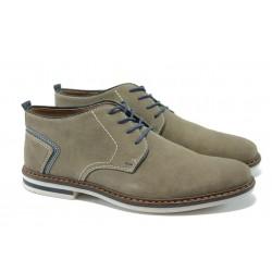 Мъжки обувки от естествен велур Rieker B1441-42 сив ANTISTRESS