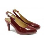 Дамски лачени обувки на висок ток Caprice 9-29604-24 бордо