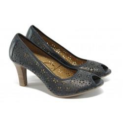 Дамски обувки от естествена кожа Caprice 9-29300-24 т.син