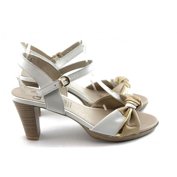 Дамски сандали на ток Caprice 28302 бяло ANTISHOKK