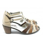 Дамски летни обувки на ток Rieker 40958-60 бежово