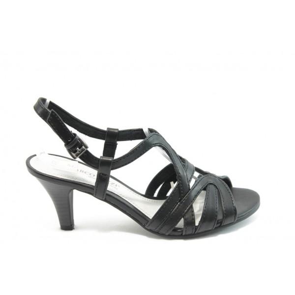 Дамски сандали на среден ток Marco Tozzi 28326 черни