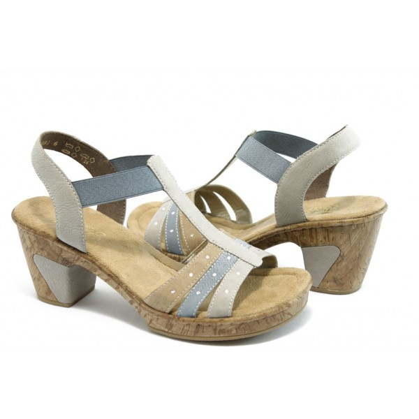 Дамски сандали с ластик на ток Rieker 69740-61 бежово сива