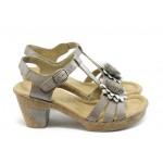 Дамски сандали на ток Rieker 69753-60 бежово