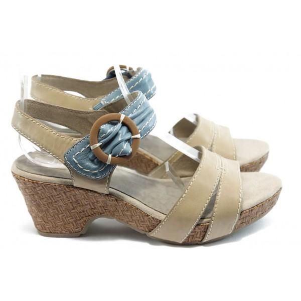 Дамски сандали на среден ток Jana 28313 бежово