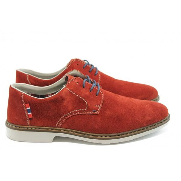 Стилни мъжки обувки велурени Rieker 13012-35 червен