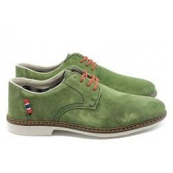 Стилни мъжки обувки велурени Rieker 13012-35 зелено