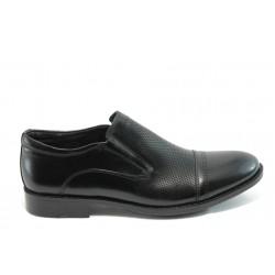 Елегантни мъжки обувки без връзки Rieker В0065-00 черни
