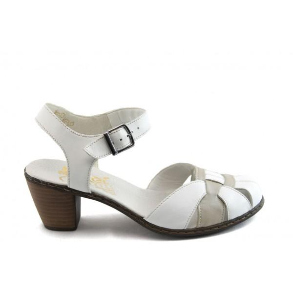 Дамски обувки с отворена пета Rieker 40968-80 бял