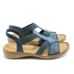 Дамски сандали с ластик Rieker 608Y2-14 сини