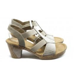 Дамски сандали на ток с ластик Rieker 69732-60 сиви