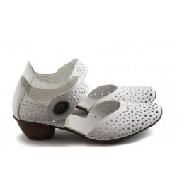 Дамски обувки с перфорация Rieker 43771-80 бели