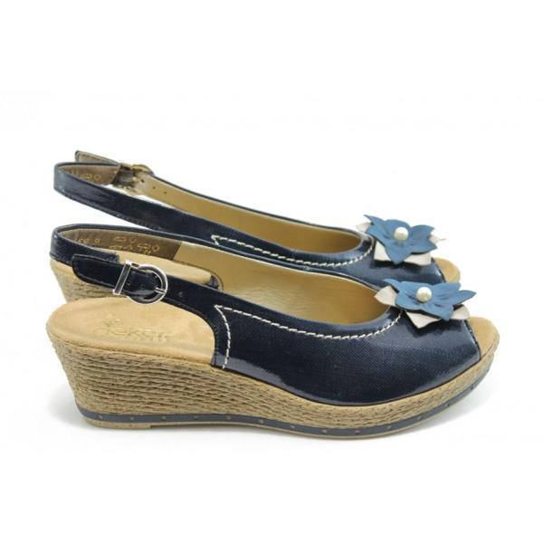 Дамски сандали на платформа Rieker 60480-14 сини