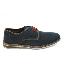 Стилни мъжки обувки с перфорация Rieker 13435-14 сини
