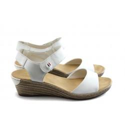 Дамски сандали на ниска платформа Rieker 62464-80 бели