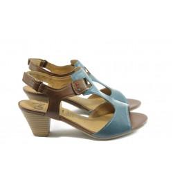 Дамски сандали на среден ток Caprice 28201-22 синьо-коняк ANTISHOKK