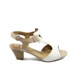 Дамски сандали на среден ток Caprice 28201-22 бяло-бежово ANTISHOKK