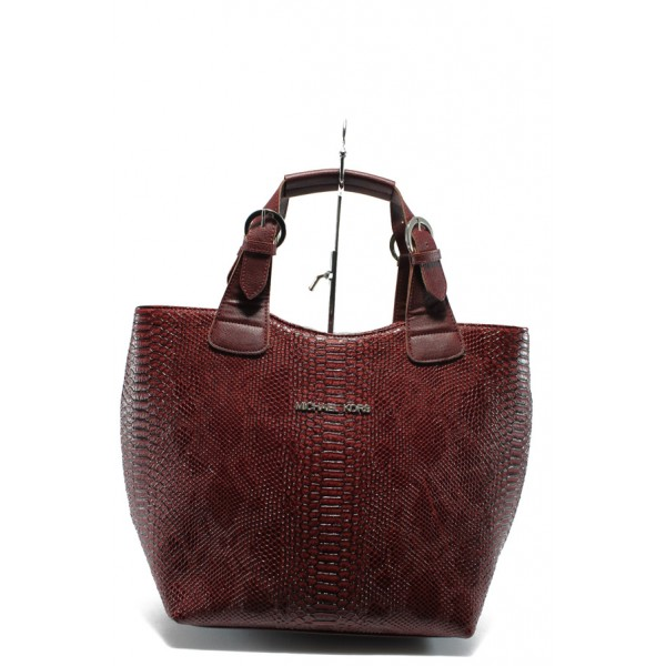 Стилна дамска чанта СБ 1130 бордо кожа анаконда