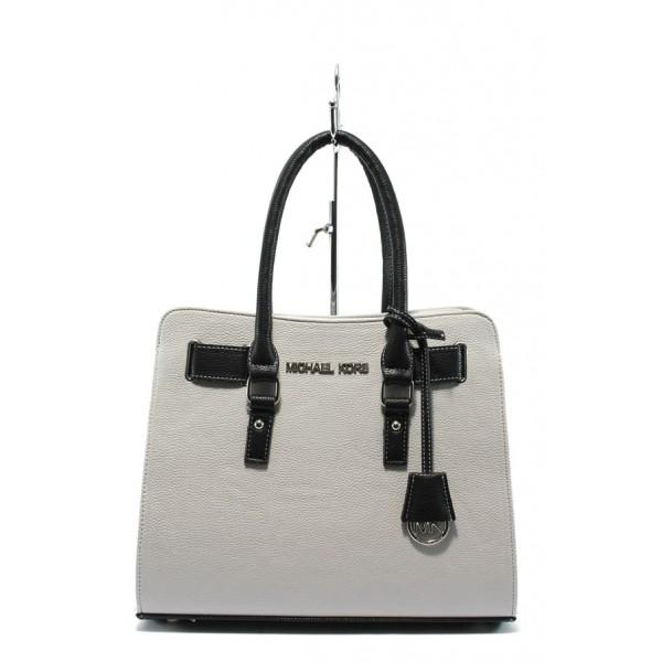 Стилна дамска чанта СБ 1150 бяла кожа