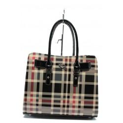 Стилна дамска чанта СБ 1150 черен лак каре