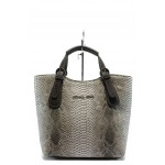Българска дамска чанта СБ 1146 кожа анаконда бяло-сив