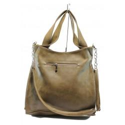 Дамска чанта СБ 1131 бежова кожа