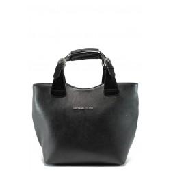 Стилна дамска чанта СБ 1130 черна гладка кожа